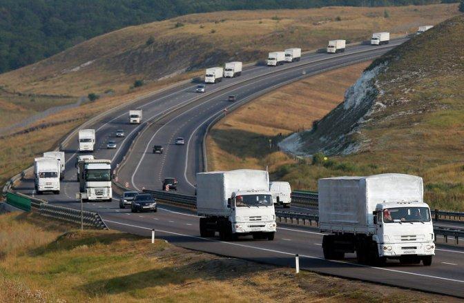 Российский гуманитарный конвой стоит на границе Украины #Конвой #Новороссия #Украина