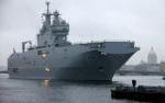 """Вертолетоносец """"Мистраль"""" с моряками из РФ вышел в море для испытаний. 13 сентября 2014 г."""
