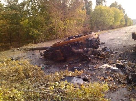 Разбитая колонна ВСУ у Мариуполь. 12 сентября 2014 г.