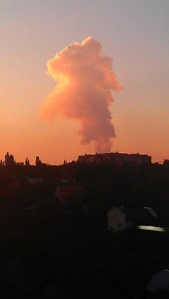 Донецк гриб дыма. Предположительно район Азотного 14 сентября 2014 г.